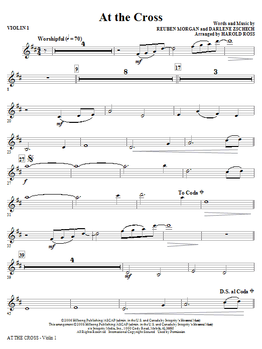 At The Cross - Violin 1 (Choir Instrumental Pak)