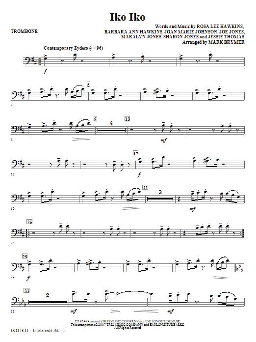 Iko Iko - Trombone (Choir Instrumental Pak)