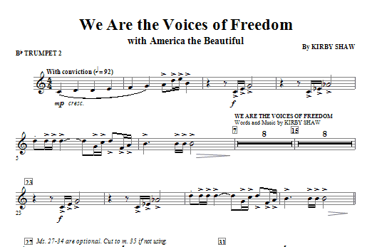 We Are The Voices Of Freedom - Trumpet 2 Sheet Music