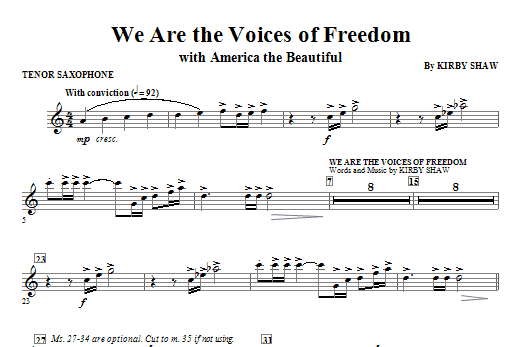 We Are The Voices Of Freedom - Tenor Sax Sheet Music
