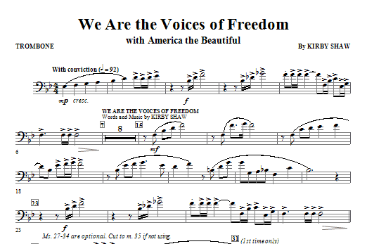 We Are The Voices Of Freedom - Trombone Sheet Music
