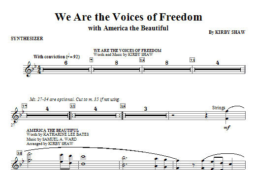 We Are The Voices Of Freedom - Synthesizer Sheet Music