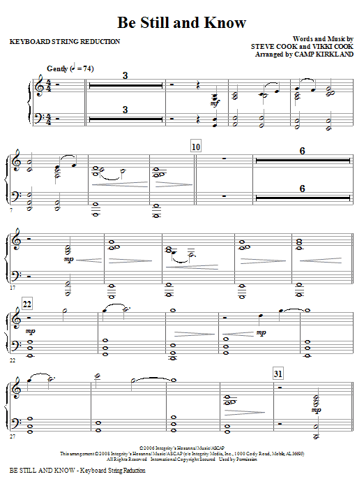 Be Still And Know - Rhythm Sheet Music