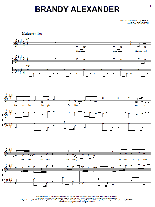 Brandy Alexander (Piano, Vocal & Guitar (Right-Hand Melody))