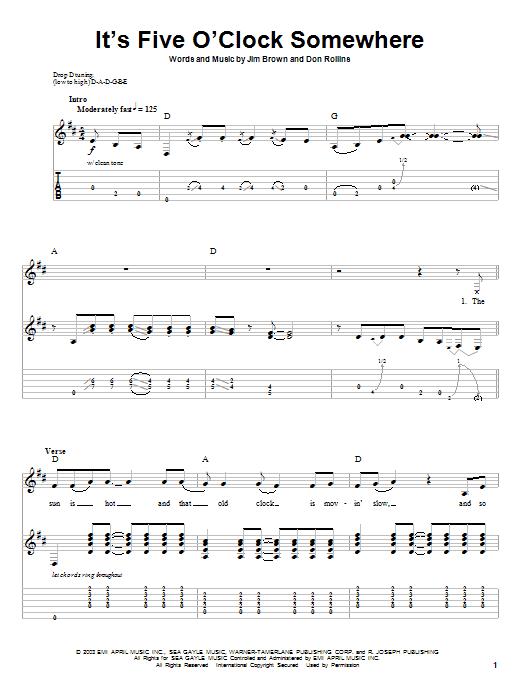 Tablature guitare It's Five O'Clock Somewhere de Alan Jackson & Jimmy Buffett - Playback Guitare