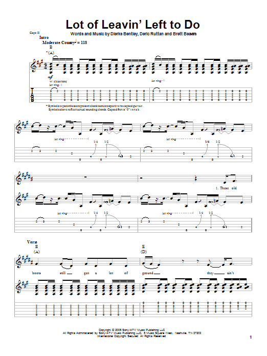 Lot Of Leavin' Left To Do (Guitar Tab (Single Guitar))