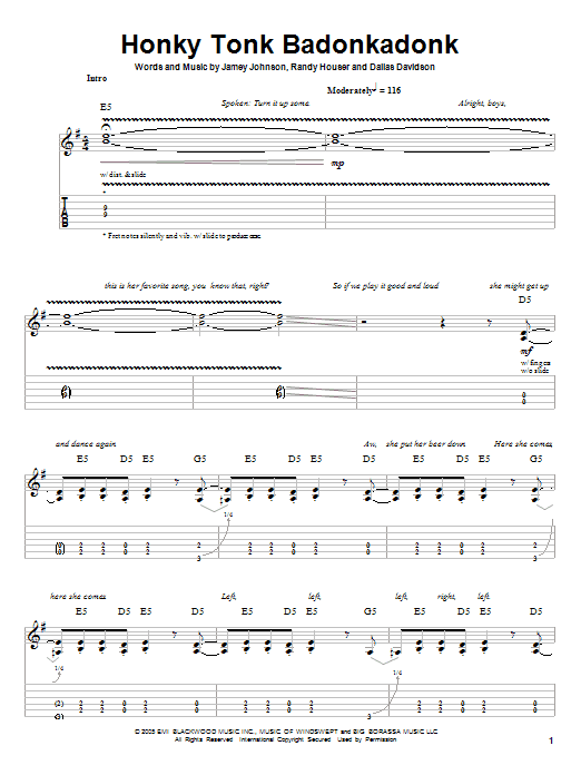 Honky Tonk Badonkadonk (Guitar Tab (Single Guitar))
