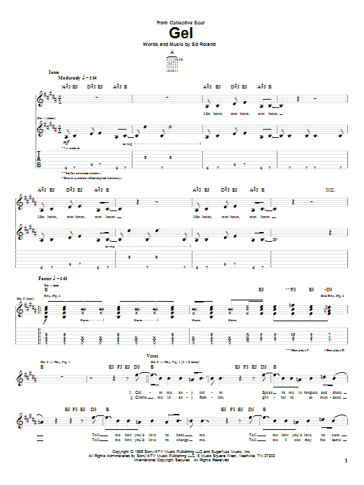 Tablature guitare Gel de Collective Soul - Tablature Guitare