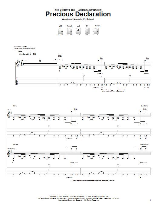 Tablature guitare Precious Declaration de Collective Soul - Tablature Guitare