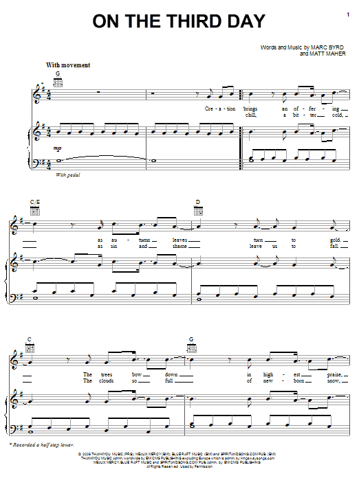 On The Third Day (Piano, Vocal & Guitar (Right-Hand Melody))