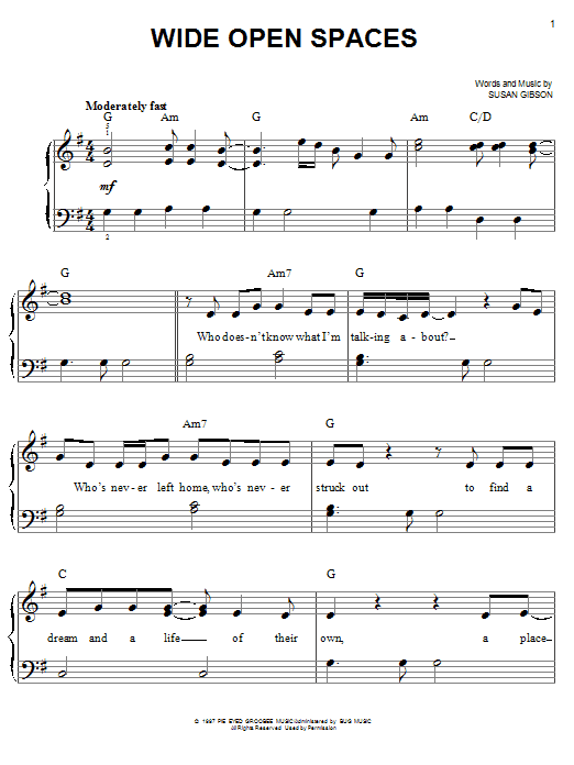Wide Open Spaces (Easy Piano)