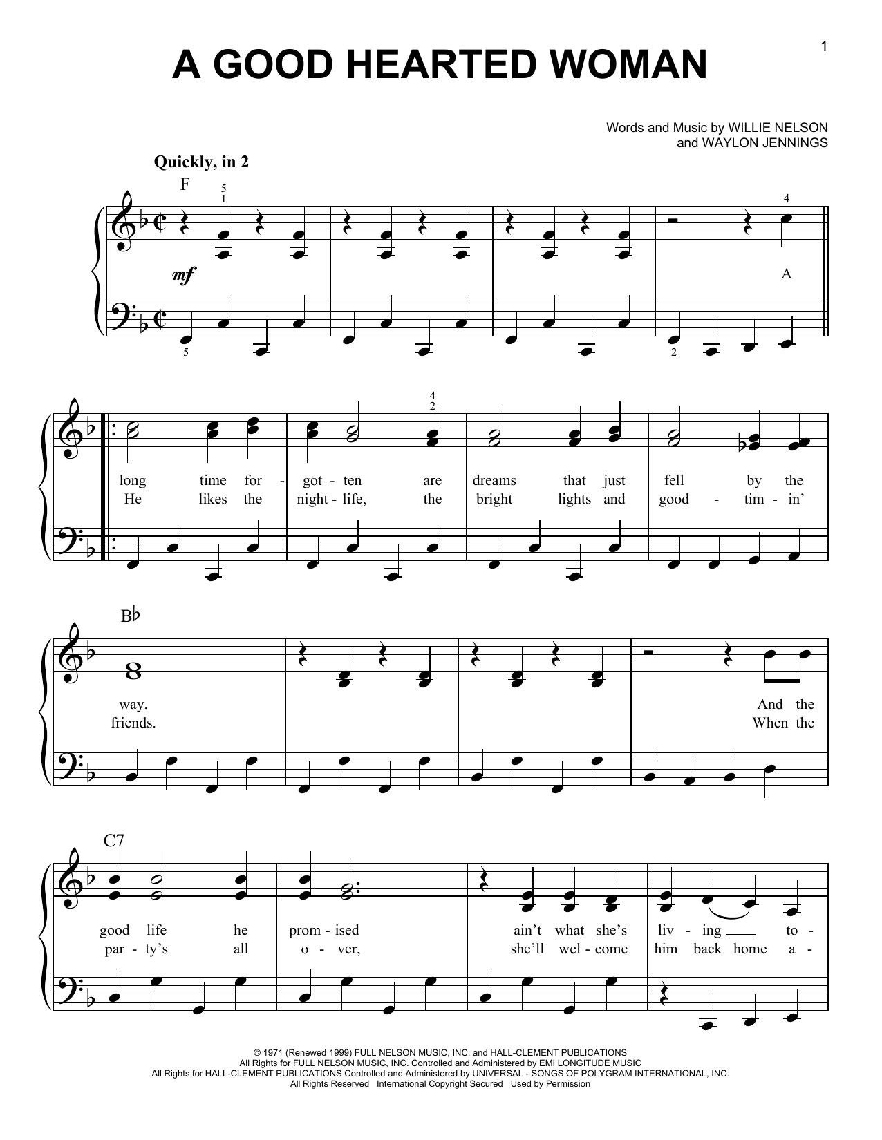 A Good Hearted Woman Sheet Music