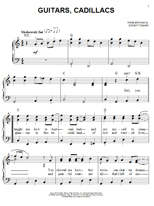 Guitars, Cadillacs Sheet Music