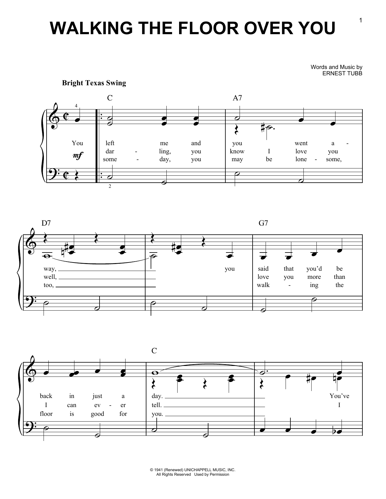 Walking The Floor Over You Sheet Music