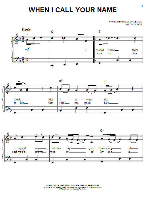 When I Call Your Name Sheet Music