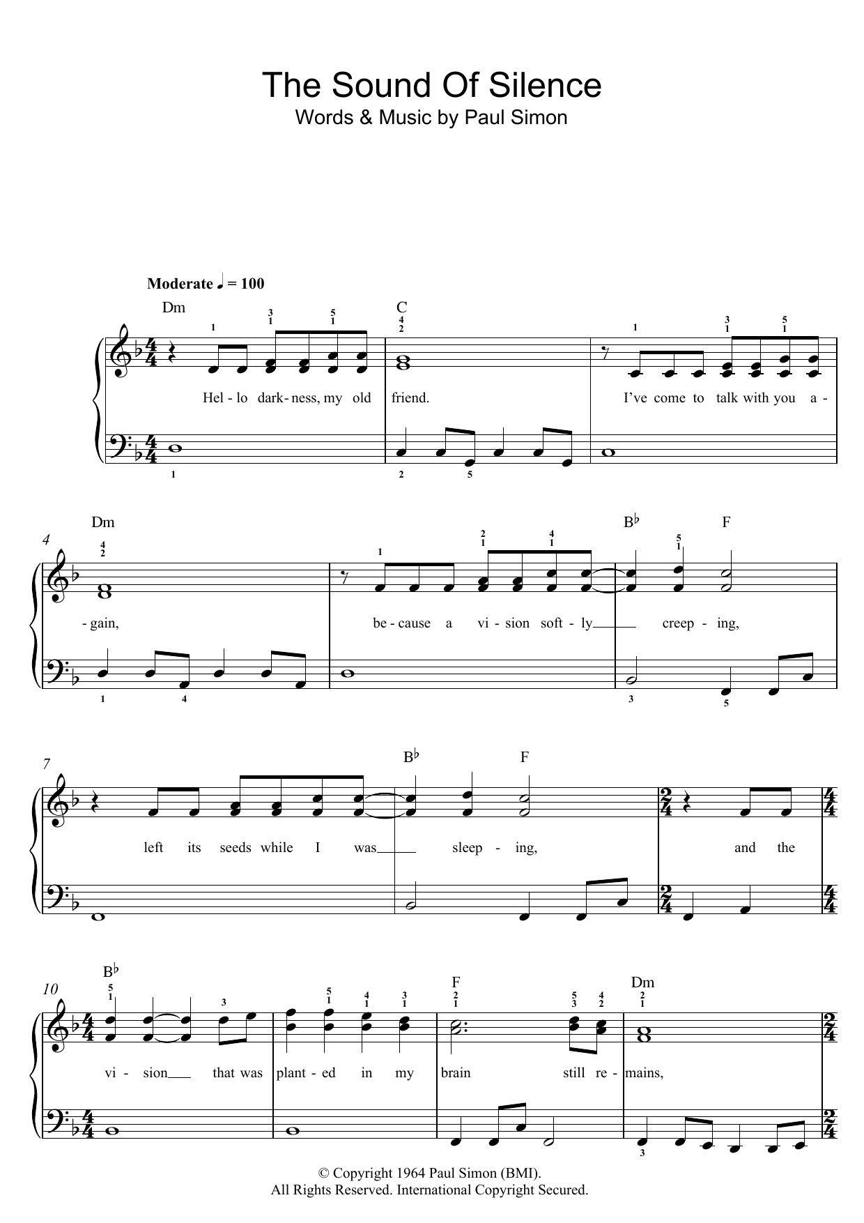 Sound of silence guitar chords gallery guitar chords examples the sound of silence sheet music by simon garfunkel beginner simon garfunkel the sound of silence hexwebz Image collections