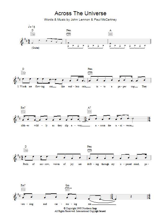 Across The Universe | The Beatles | Melody Line, Lyrics & Chords