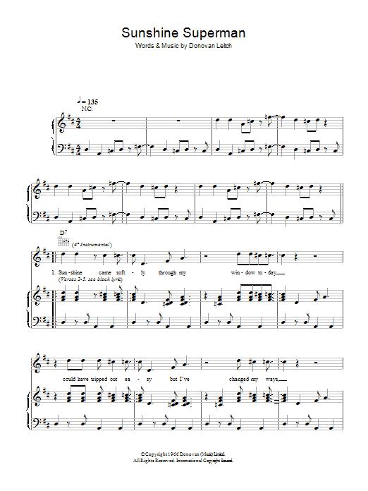 Sunshine Superman (Piano, Vocal & Guitar)