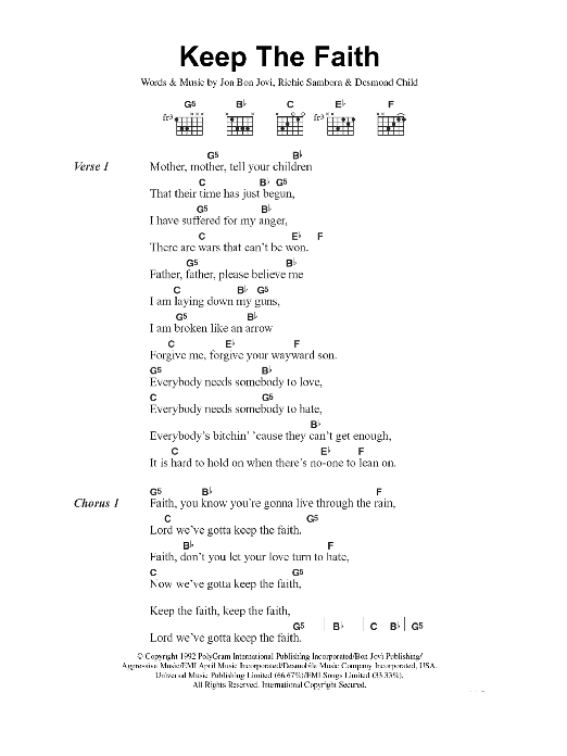 Keep The Faith by Bon Jovi - Guitar Chords/Lyrics - Guitar Instructor