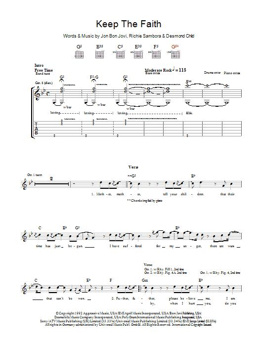 Keep The Faith (Guitar Tab)