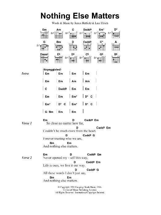 Nothing Else Matters by Metallica - Guitar Chords/Lyrics - Guitar ...