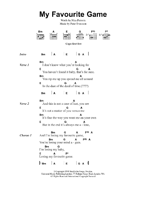 My Favourite Game Sheet Music The Cardigans Lyrics Chords