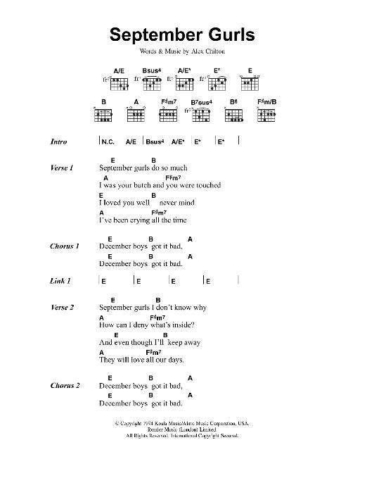 September Gurls Sheet Music