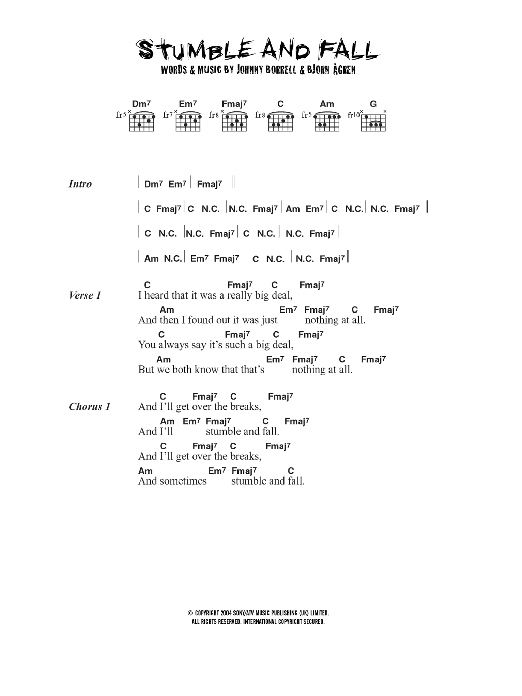 Stumble And Fall Sheet Music