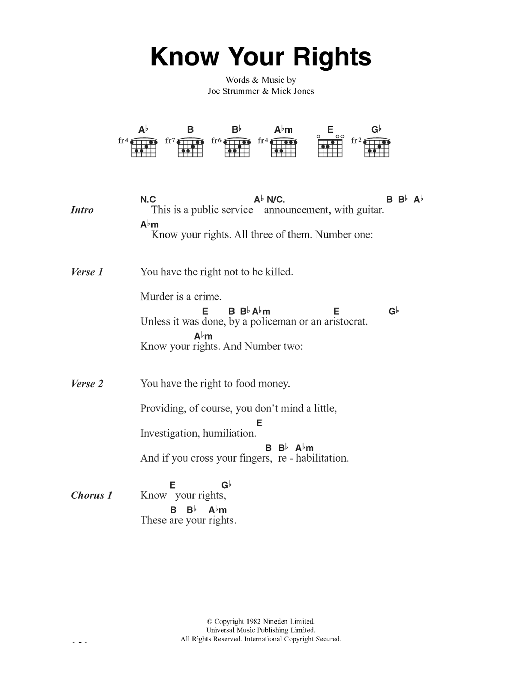 Know Your Rights Sheet Music