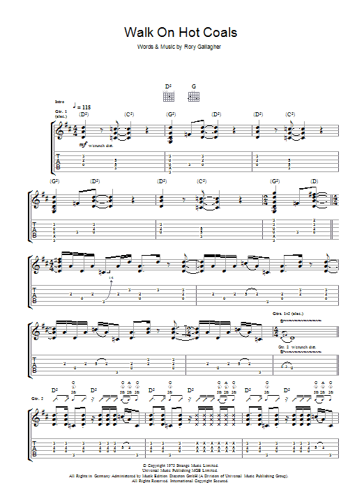 Walk On Hot Coals (Guitar Tab)