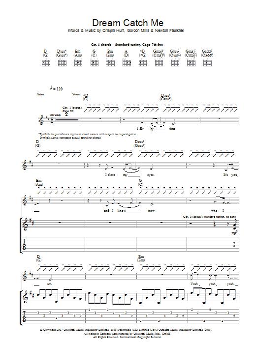 Dream Catch Me (Guitar Tab)