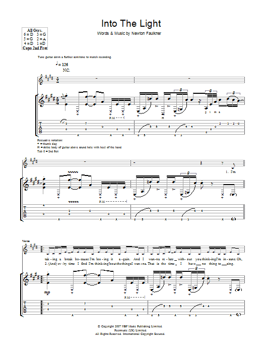 To The Light (Guitar Tab)