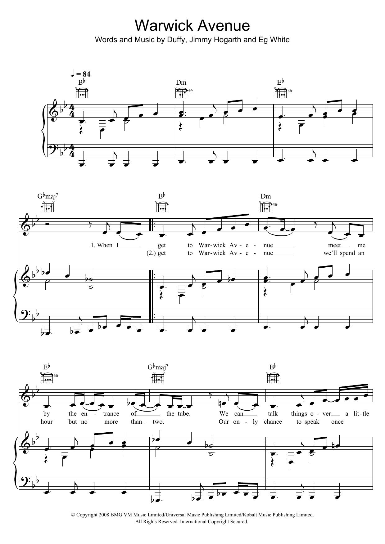 Warwick Avenue (Piano, Vocal & Guitar)