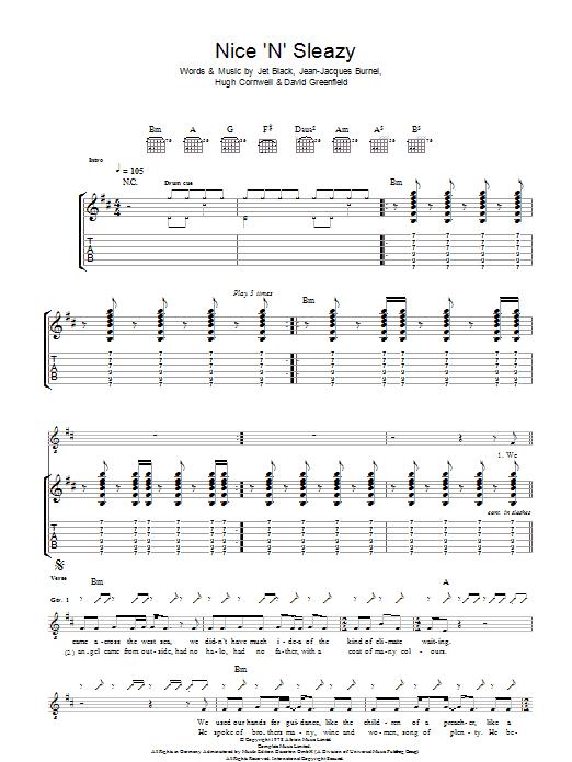 Nice N Sleazy Sheet Music The Stranglers Guitar Tab