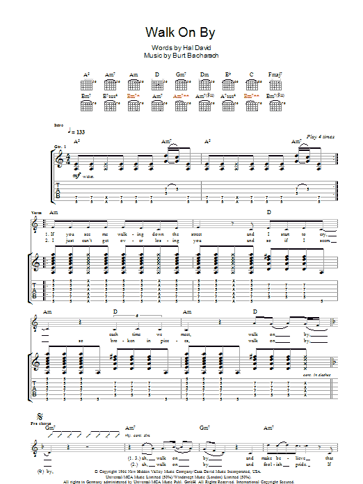 Walk On By (Guitar Tab)