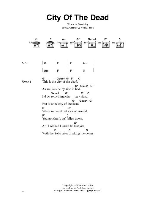 City Of The Dead Sheet Music
