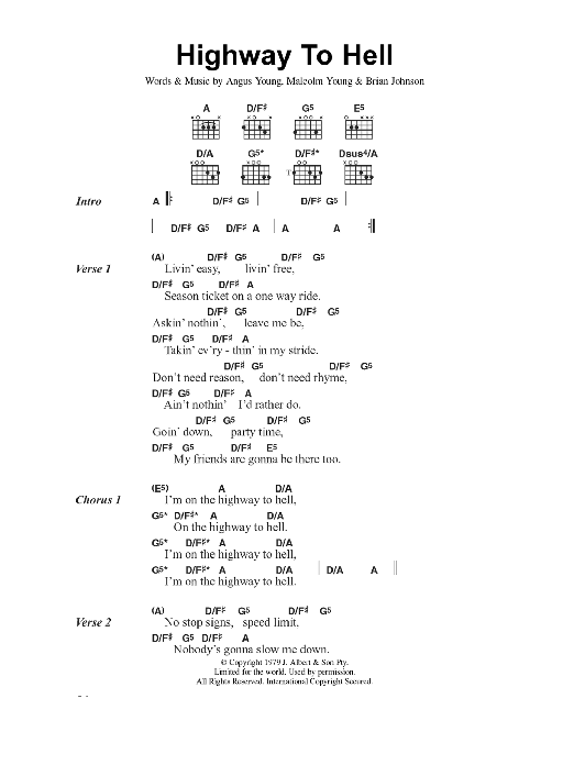 Highway To Hell by AC/DC - Guitar Chords/Lyrics - Guitar Instructor
