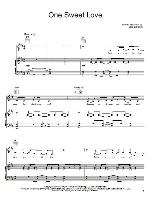 Partition piano One Sweet Love de Sara Bareilles - Piano Voix Guitare (Mélodie Main Droite)