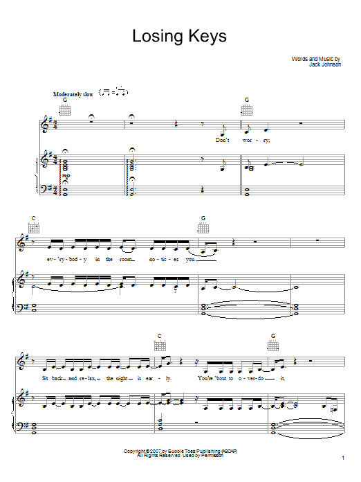 Losing Keys Sheet Music