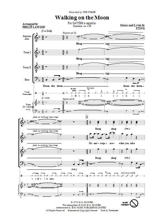 Walking On The Moon (arr. The Police) (SATB Choir)