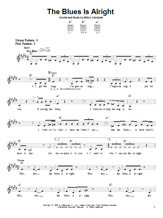 The Blues Is Alright Sheet Music