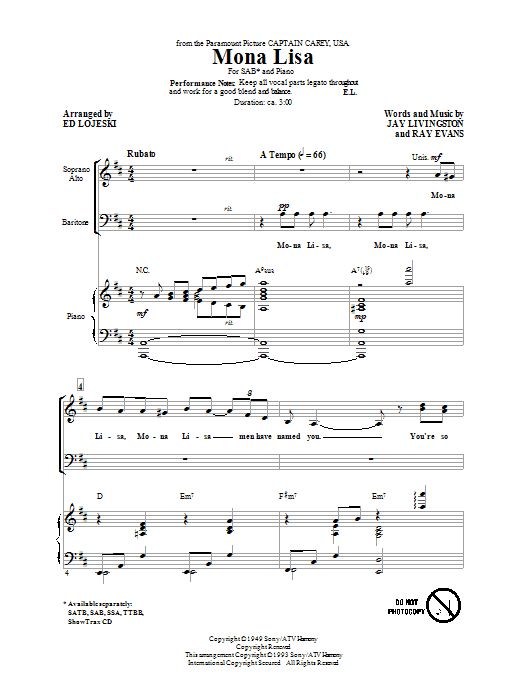 Mona Lisa (arr. Ed Lojeski) Sheet Music