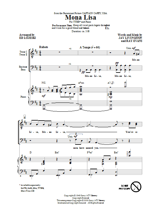 Mona Lisa (TTBB Choir)