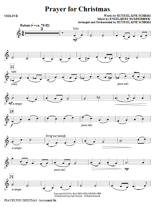 Prayer For Christmas - Violin 2 (Choir Instrumental Pak)