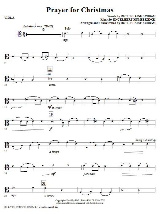 Prayer For Christmas - Viola (Choir Instrumental Pak)