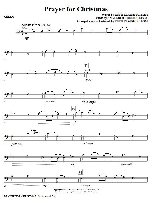 Prayer For Christmas - Cello (Choir Instrumental Pak)