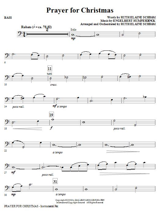 Prayer For Christmas - Bass (Choir Instrumental Pak)