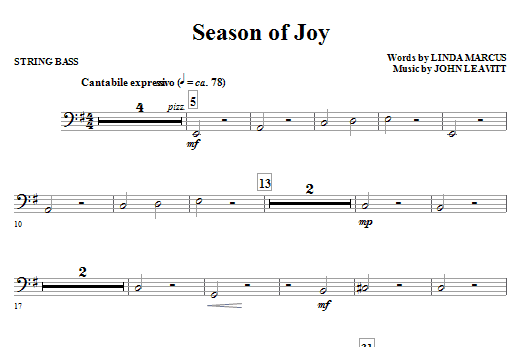 Season Of Joy - String Bass Sheet Music