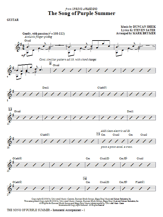 The Song Of Purple Summer - Guitar Sheet Music
