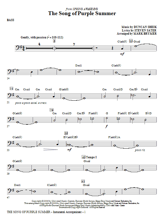 The Song Of Purple Summer - Bass Sheet Music